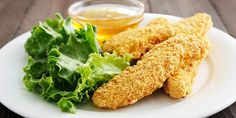 Almond Crusted Chicken Fingers with Honey Mustard Dipping Sauce recipe: This kid-friendly meal is great for adults too! A light almond and panko crust bakes to a crisp, golden exterior, and the honey mustard sauce has the perfect blend of sweet and tangy. Almond Crusted Chicken, Almond Chicken, Breaded Chicken, Chicken Nuggets, Clean Eating Recipes, Cooking Recipes, Healthy Recipes, Healthy Eating, Healthy Snacks