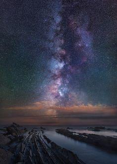 Milkyway rise over sea in antignano.