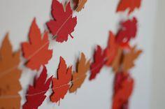 Autumn Leaf Paper Garland, Fall, Harvest, orange, red, yellow, gold, wedding decor, thanksgiving