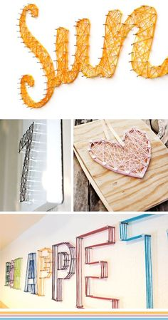 yarn, nails, wall, text - I did one once with copper wire. I really liked it. It was in the shape of a heart. Wonder where that is???