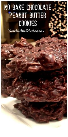 NO BAKE CHOCOLATE PEANUT BUTTER COOKIES -  Cinch to make, an oldie but goodie recipe! Wonderful fudge-like cookies, rich with chocolate and peanut butter, loaded with oatmeal, a favorite for generations.| SweetLittleBluebird.com