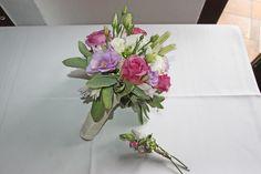 Brautstrauß in Weiß, Grün, Lila, Rosa