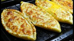Hello again everyone.today from my oven is Cheese Pide. This recipe is using pizza dough and cheese as toppings but feels free to choose your favorite. Puff Pastry Recipes, Pizza Recipes, Baking Recipes, Dessert Recipes, Turkish Cheese, Turkish Pizza, My Favorite Food, Favorite Recipes, Turkish Recipes