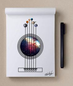Galaxy Guitar - Stars Themed Illustrations by Muhammed Salah