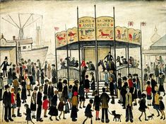 Lowry painting - A Fairground Salford, People Illustration, Illustration Art, Spencer, English Artists, Gcse Art, Paintings I Love, Naive Art, Art For Art Sake