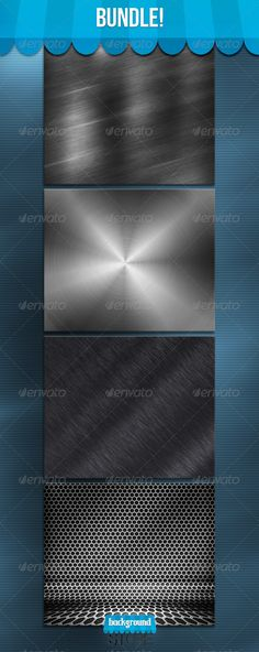 Metal Bundle: 3 Editable Layered psd files   17 jpg textures Customizable Backgrounds 30002500px 150dpi Easy to edit Colors Perfe