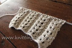 Gorgeous and easy free eyelet rib knitting stitch pattern. Abbreviations: k= knit p= purl yf = yarn forward k2tog = knit two stitches together sl = slip psso = pass the slipped stitch over  Multiples of 7 plus 2 Row 1: p2 * k5, p2; rep from * to end Row 2: k2, * p5, k2; rep from * to end Row 3: p2, * k2tog, yf, k1, yf, sl 1, k1, psso, p2; rep from * to end Row 4: as row 2 4 rows make up the pattern.