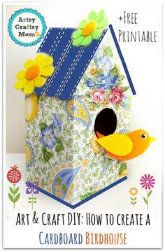 How to make a decorative Cardboard bird house Art Craft. DIY How to create a cardboard birdhouse.