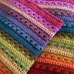 Cosy Stripe Blanket--Cosy Pack colors, worked as a rainbow stripe instead of random--Sarah baby blanket afghan throw crochet Crochet Afghans, Crochet Blanket Patterns, Baby Blanket Crochet, Knitting Patterns, Crochet Stitches, Crochet Blankets, Granny Stripe Blanket, Afghan Blanket, Baby Blankets