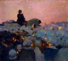 paintingbox:  Gaston La Touche(1854-1913),Pardon in Brittany,1896, French. Oil on canvas. 100.5 × 110.5cm Gaston La Touche was born at Saint Cloud, near Paris. As a boy he took drawing lessons, which were discontinued when his family moved to Normandy during the Franco-Prussian War of 1870. This was the extent of his formal training in art. When he returned to Paris he opened a studio and spent many evenings at the Café de la Nouvelle-Athènes talking with other painters, such as Édouard…
