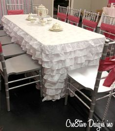 Attaching a ruffled table skirt to a table using magnet adhesive tape  Love this Idea need to make it this one for partys