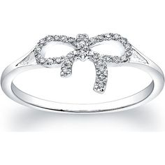 Victoria Kay 14K White Gold With 1/10 cttw Diamond Bow Ring Made on a comfortable 11 millimeters band width and 1.60 Grams total metal weight this Victoria Kay white gold diamond bow ring features 1/10 cttw (Total weight is approximate may be 0.07 to 0.12 carat) of round white diamonds set in the shape of a bow. All tied up in a pretty bow the prong-set encrusted round-shape diamonds bow ring is a perfect accent to dress up any ensemble. Made of 14k white gold resists tarnish and stay…