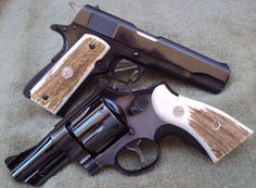 Colt 1911 and Smith & Wesson Revolver, both with stag grips 1911 Pistol, 1911 Grips, Colt 1911, Firearms, Shotguns, Revolvers, Fire Powers, Smith Wesson, Cool Guns