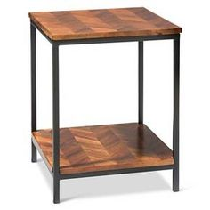 Preston End Table Parquet - Threshold™ : Target Living Room Update, Home Living Room, Living Room Furniture, Metal Accent Table, Accent Tables, Industrial Chic Style, Wood Parquet, Restaurant Furniture, End Tables