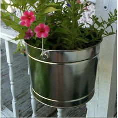 Porch flowers planters by Tracy