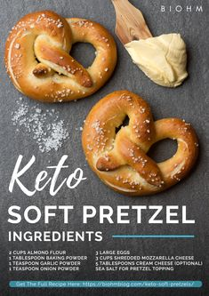 Enjoy delicious keto soft pretzels without an ounce of guilt with this recipe! Instead of using all-purpose flour which contains a lot of carbohydrates, you can use almond flour. Almond flour is gluten-free and full of healthy fats. Low Carb Keto, Low Carb Recipes, Diet Recipes, Easy Keto Recipes, Primal Recipes, Shrimp Recipes, Recipes Dinner, Cake Recipes, Desserts Keto