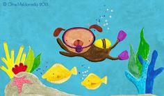 Scuba diving dog © Gina Maldonado