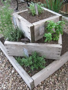 Rustic planter boxes of large herb garden. On Crooked Creek: thyme for herbs. , , - Rustic planter boxes of large herb garden. On Crooked Creek: thyme for herbs. Rustic Planters, Herb Planters, Herb Garden Planter, Planter Ideas, Garden Table, Flower Planters, Vegetable Planter Boxes, Herb Garden Pallet, Flowers Garden