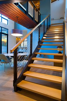 Chic Style with Cable Railing - Design Chic %Add Chic Style with Cable Railing - Design Chic % Fresh stair railing knee wall tips for 2019 Aussentreppe Granit Gelb geflammt 5 Stück + Balustrades, Banisters, Stair Railing, Cable Railing, Railings, Steel Stairs, Wood Stairs, House Stairs, Floating Staircase