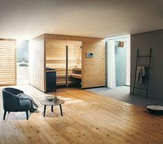 Moderne Sauna fürs Wellness-Bad. Mir fast ein wenig zu offen ...