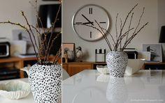 DIY painted vase #black #white #monotone