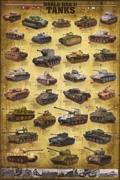 A great poster of the Tanks and armored vehicles used by both the Allies and the Axis Powers during WWII! Perfect for History Teachers and History Buffs! Fully