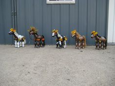 """2015  Created by Stefanie Butler  Little CLay Pot Horses 15"""" tall at back, 20"""" tall at head 19"""" long sold for $100 / horse"""