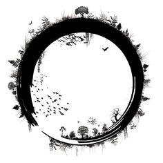 Circle of life Zen Tattoo, Tatoo Art, Body Art Tattoos, Tatoos, Tatoo Nature, Tattoo Painting, Natur Tattoos, Geniale Tattoos, Desenho Tattoo