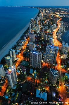 Surfer's Paradise after Sunset, Gold Coast, QLD, Australia See Here: Gold Coast Stock Images Great Places, Places To See, Beautiful Places, Concrete Jungle, Sunshine Coast, Places Around The World, Around The Worlds, Gold Coast Australia, Queensland Australia
