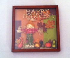 Wooden Shadow Box Happy Harvest box thanksgiving by RedRiverValley, $50.00