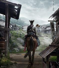 "quarkmaster: "" the return of Jiba Asia legends concept David Benzal "" Japanese Culture, Japanese Art, Fantasy Landscape, Fantasy Art, Samurai Artwork, Japanese Warrior, Ghost Of Tsushima, Poses References, Ghost Rider"