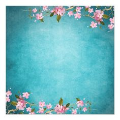Shop Teal Blue Pink Japanese Cherry Blossoms Wedding Invitation created by WeddingCentral. Indian Wedding Invitation Cards, Wedding Invitation Background, Wedding Invitation Card Design, Wedding Card Design, Wedding Cards, Invites, Custom Invitations, Flower Background Wallpaper, Flower Backgrounds