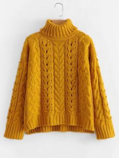 Cable Knit Turtleneck SweaterFor Women-romwe