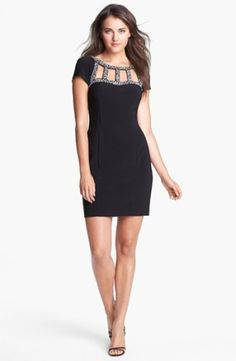 Glittering rhinestones bedazzle the cutout neckline of a cap-sleeve sheath boosting a classic style with showstopping glam. Color(s): black. Brand: Hailey Adrianna Papell. Style Name: Hailey by Adrianna Papell Embellished Jersey Sheath Dress. Style Number: 965307. $148.00 by nordstrom
