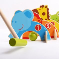 Kidcia 4 Doorways Cartoon Animal Croquet Toy Game Wooden Golf Toys Funny Outdoor Family Educational Games for Kids >>> Check out this great product. (This is an affiliate link) Pet Toys, Baby Toys, Kids Toys, Educational Games For Kids, Educational Toys, Wooden Animals, Wooden Toys, Kids Golf Set, Montessori