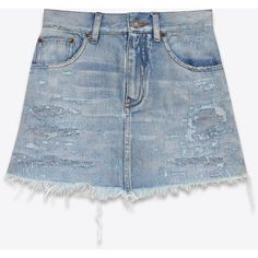 Saint Laurent Repaired Mini Skirt ($785) ❤ liked on Polyvore featuring skirts, mini skirts, ripped skirt, blue skirt, short mini skirts, short skirts and yves saint laurent