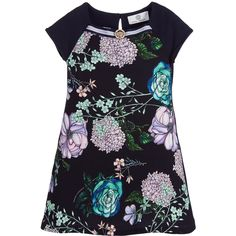 Young Versace Girls Blue Dress with Floral Print at Childrensalon.com