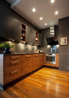 Wooden L - Shaped Modular Kitchen with Upper Cabinets highlighted with Spot Lights - GharPedia Kitchen Room Design, Kitchen Cabinet Design, Modern Kitchen Design, Interior Design Kitchen, Home Decor Kitchen, L Shaped Kitchen Interior, L Shape Kitchen, Crazy Kitchen, Modern Kitchen Interiors