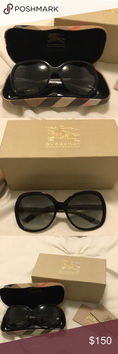 """Burberry Womens Sunglasses Burberry Women's Sunglasses in great condition-wore about once or twice (not my style anymore). They are black oversized glasses (""""bug eye"""") with the pattern and logo on the sides. Comes with original box, case, cleaning cloth, and authentication booklets.  Very cute and classy.  ** has one tiny dent, the picture is posted Burberry Accessories Sunglasses"""