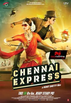 Watch Chennai Express full hd online Directed by Rohit Shetty. With Deepika Padukone, Shah Rukh Khan, Sathyaraj, Nikitin Dheer. A man heading towards Rameshwaram via Chennai express to immers Chennai Express, Streaming Vf, Streaming Movies, Shahrukh Khan, Shah Rukh Khan Movies, Deepika Padukone, Srk Movies, Watch Movies, Bollywood Posters