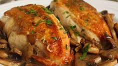 Succulent chicken breasts topped with perfectly sauteed mushrooms create a delicious, yet very simple, dish.
