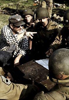 Steven Spielberg on the set of Saving Private Ryan (1998)