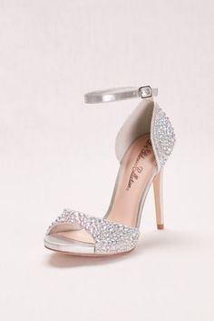 "From the super-high heel to the multicolor crystals, these peep-toe sandals make a glamorous statement.  By Blossom  4 1/2"" heel  AB crystals  Synthetic  Adjustable buckle  Imported"