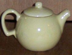 Vintage Individual Yellow Pottery Tea Pot