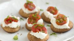 Bloggers Adam and Joanne Gallagher from Inspired Taste make mini multigrain bites topped with ricotta cheese, fresh tomatoes and mint.