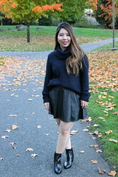 Knit Sweater + Faux Leather Skirt + Booties