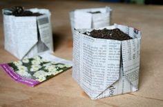 Voorzaaien in krantenpapier - starting seeds in newspaper pots.