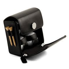 Black Leather Golf Accessories Set with 4 Golf Balls