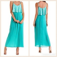 Lace and chiffon pleated maxi dress This maxi shift dress is a real showstopper, all the way from its sexy spaghetti straps to its flowing lengths of tiny accordion pleats. On top, a cropped, boxy layer of lace adds some flutter appeal and a fun textural twist. A cut-out in back closes with a single button, and the lining stops above the waist. I used it once for a bridal shower, got many compliments. Dresses Maxi
