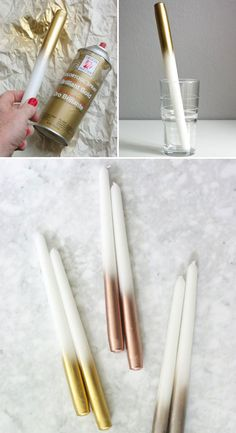 20 Spray Painted Decorations for Christmas Will Save You Money Use Gold Spray Paint to Up the Glam Factor of Everyday Candles. 20 Spray Painted Decorations for Christmas Will Save You Money Use Gold Spray Paint to Up the Glam Factor of Everyday Candles. Best Gold Spray Paint, Spray Paint Cans, Metallic Spray Paint, Spray Painting, Spray Paint Metal, Spray Paint Diy Decor, Spray Paint Projects, Gold Paint, Diy Room Decor